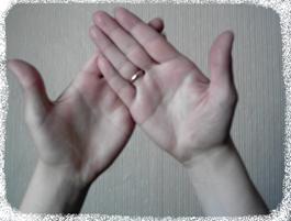 Рисунок 5а. Пример положения ладоней во время пальминга.